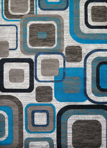 "63"" x 84"" x 0.43"" Aqua Polypropylene Area Rug - Buy JJ's Stuff"