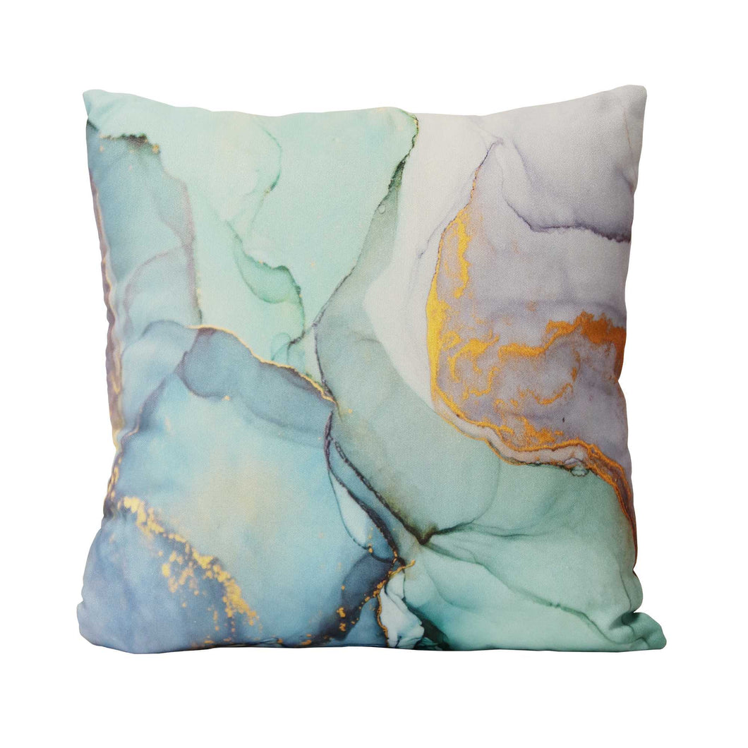Blue Green Marble Cotton Square Indoor - Outdoor Pillow