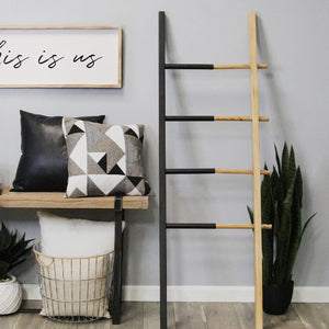 "20.5"" X 1.25"" X 60"" Black Natural Wood Metal Decorative Ladder - Buy JJ's Stuff"