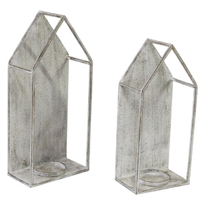 "7.1"" X 3.94"" X 15.75"" Distressed White Metal House Candleholder - Buy JJ's Stuff"