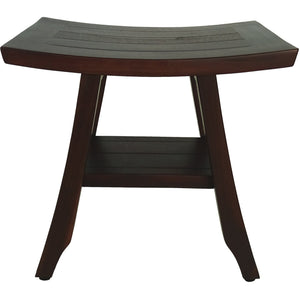 Compact Curviliniear Teak Shower - Outdoor Bench with Shelf in Brown Finish - Buy JJ's Stuff