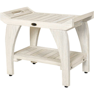Compact Rectangular Teak Shower - Outdoor Bench with Liftaide Arms in Driftwood Finish - Buy JJ's Stuff