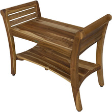 Compact Rectangular Teak Shower - Outdoor Bench with Shelf and Curved Liftaide Arms in Brown Finish - Buy JJ's Stuff