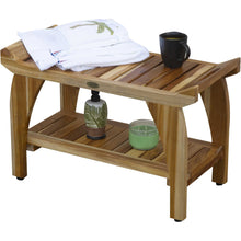 Compact Rectangular Teak Shower - Outdoor Bench with Shelf and Liftaide Arms in Natural Finish - Buy JJ's Stuff