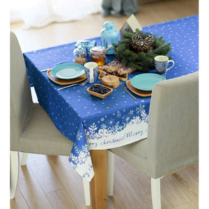 "104"" Merry Christmas Printed Rectangle Tablecloth in Blue - Buy JJ's Stuff"