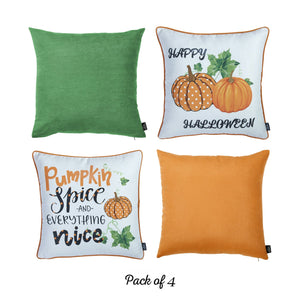"Set of 4 18"" Fall Pumpkin Spice Harvest Throw Pillow Cover in Multicolor - Buy JJ's Stuff"