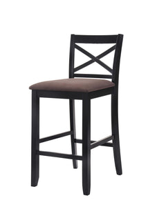 "Set of 2 - 43"" Black Wood Finish with Dark Fabric Upholstered Seat Bar Chairs - Buy JJ's Stuff"
