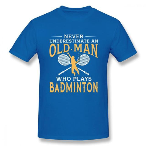 STA Never Underestimate An Old Man Who Plays Badminton T Shirt For Men - Supreme Tennis Athletes
