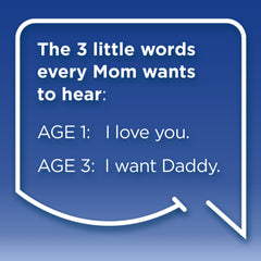 Funny Mom Quotes. Smile, Shop, then Share on Instagram, Facebook, Pinterest & Twitter. The 3 little words every Mom wants to hear. Age 1: I love you. Age 3: I want Daddy.