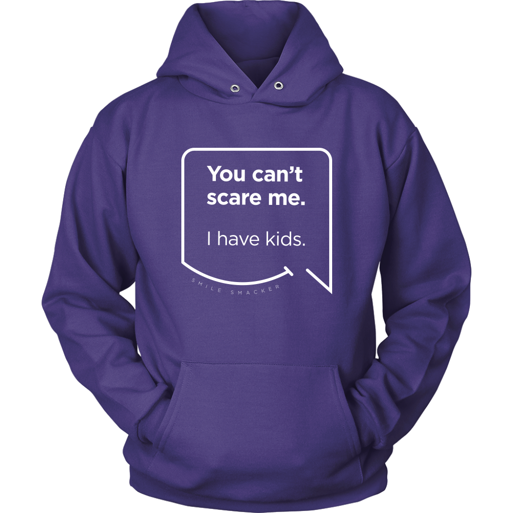 Our funny quotes make the best gifts for Mom! Front view of our soft purple hoodie. The modern white quote bubble reads: You can't scare me. I have kids.