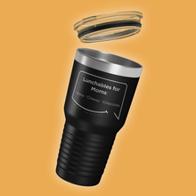 Our funny quotes make the best gifts for Mom! Tilted view of our extreme 30 oz black travel mug with a clear lid. The modern etched quote bubble reads: Lunchables for Moms: wine, cheese, chocolate.
