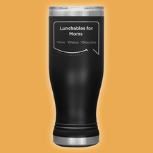 Our funny quotes make the best gifts for Mom! Front view of our popular 20 oz black travel mug. The modern etched quote bubble reads: Lunchables for Moms: wine, cheese, chocolate.