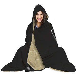 Our funny quotes make the best gifts for Mom! Front view of a Mom sitting on the floor with our fleece blanket and attached hood wrapped cozily around her.