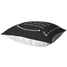 Our funny quotes make the best gifts for Mom! This top view of our chic throw pillow emphasizes the thickness of the soft filling which holds its shape. The white back contrasts with the black color on the front and highlights the modern white quote bubble which reads: Vampires Exist. Every day my kids suck the life out of me.