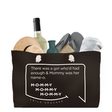 Our funny quotes make the best gifts for Mom! Front view of our large, black, double-sided weekender bag filled with travel items. The modern white quote bubble reads: There was a girl who'd had enough and Mommy was her name-o. M-O-M-M-Y. M-O-M-M-Y. M-O-M-M-Y.