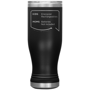 Our funny quotes make the best gifts for Mom! Front view of our popular 20 oz black travel mug. The modern etched quote bubble reads: Kids: Energizer Rechargeables. Moms: Batteries Not Included.