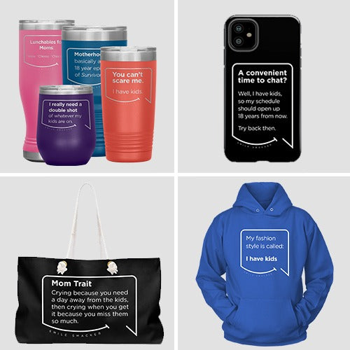 A few of Smile Smacker's featured product types include a wine tumbler, weekender bag, cell phone case and a hoodie.