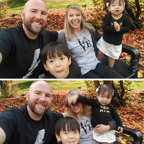 The family behind Smile Smacker sits on a park bench smiling. The picture below shows one of the children accidentally punching Mom in the face.