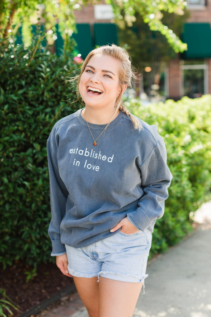 Established in Love Denim Blue Sweatshirt