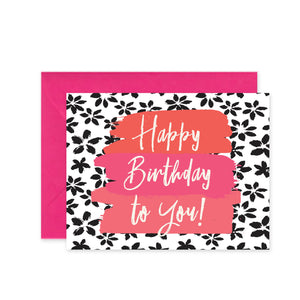 """Happy Birthday B&W Floral"" - Greeting Card"