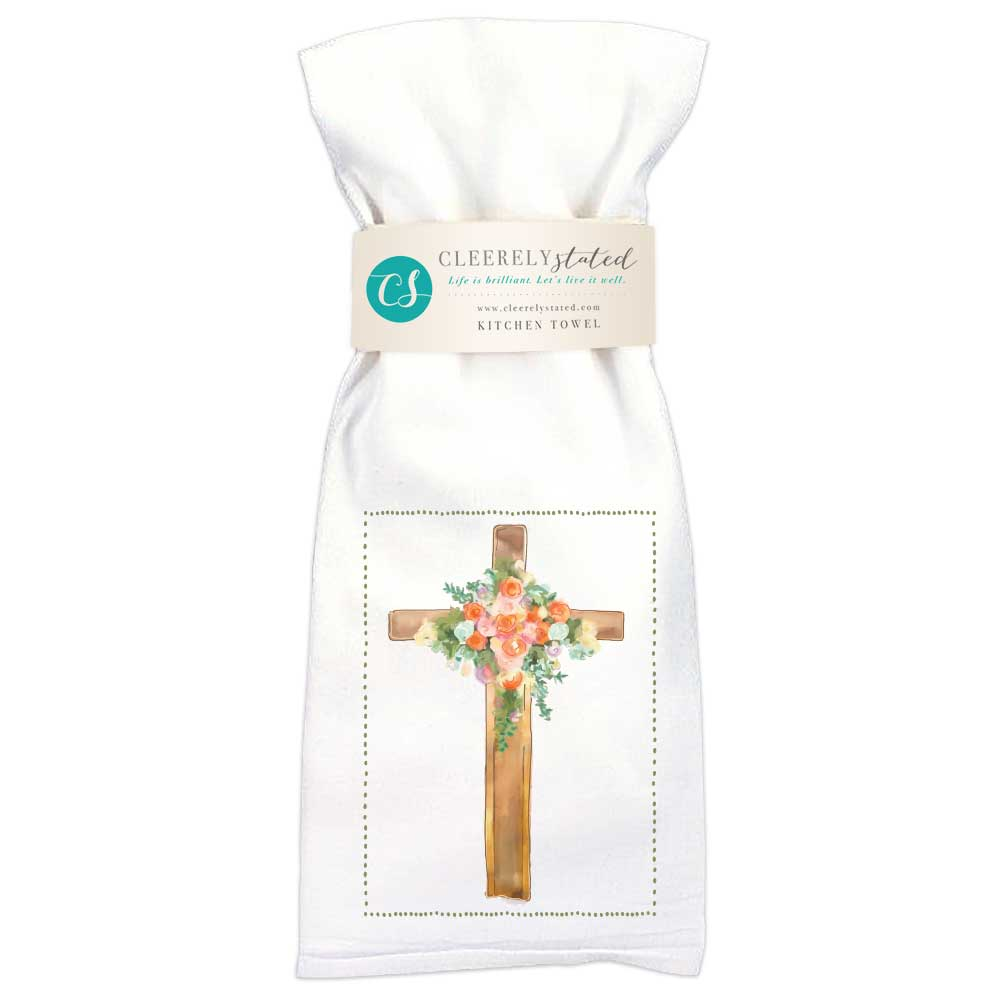 Floral Cross Kitchen Towel