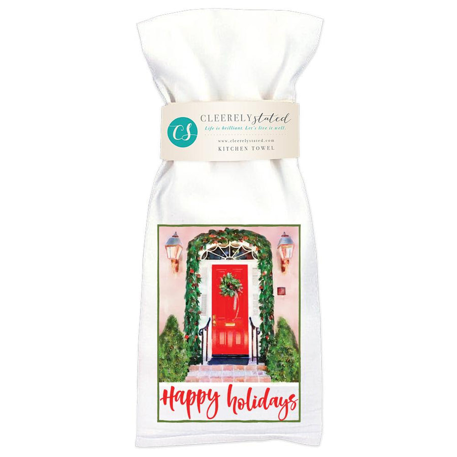 Happy Holidays Door - Kitchen Towel