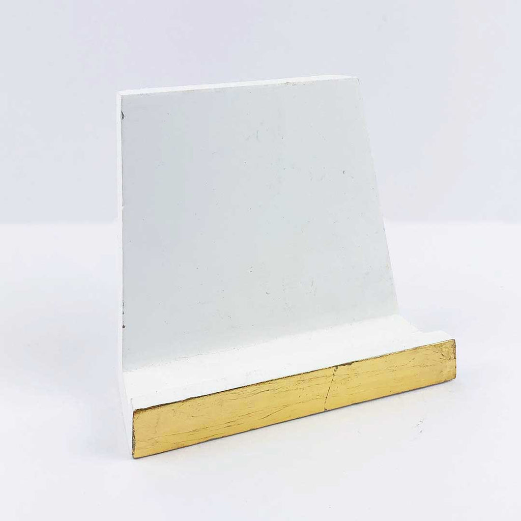 White & Gold Wood Card Stand