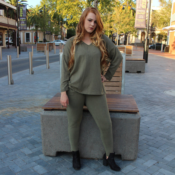 Olivia Loose Fit Top (Khaki)