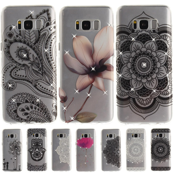 Rhinestone Fundas For Samsung Galaxy S8 Plus Case Girl Diamond Floral Flower Mandala Henna Phone Cases For Samsung S7 edge Cover