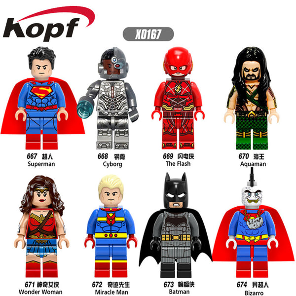 Single Sale Super Heroes Superman Wonder Woman Aquaman Cyborg Batman Bricks Action Building Blocks Best Children Gift Toys X0167