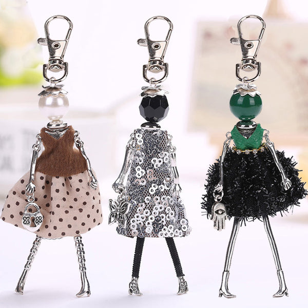 YLWHJJ 2017 brand Doll baby Handmade Cute black keychain for Women Car Pendant  hot Girl Statement fashion Jewelry Bag key chain