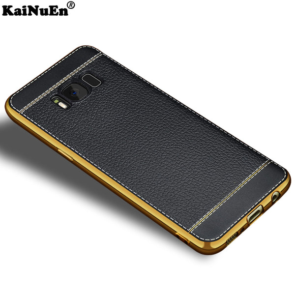 KaiNuEn luxury tpu leather pattern phone back etui,cases,cover,coque,case for samsung galaxy s8 plus s8plus s 8 silicone silicon