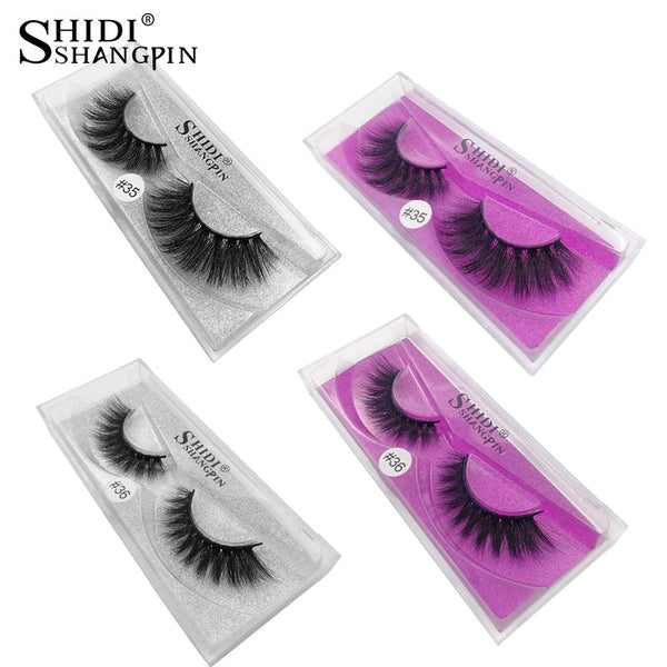 SHIDISHANGPIN 1 Pair mink eyelashes natural long 3d eyelashes 3d mink lashes hand made makeup false lashes 1 box Faux Cils #3536