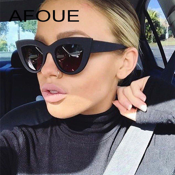 AFOUE Retro Thick Frame Cat Eye Sunglasses Women Ladies Fashion Brand Designer Mirror Lens Cateye Sun Glasses For Female Oculos