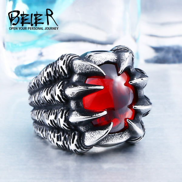 High Qiuality Heavy Metal Dragon Claw Ring CZ Zircon Exaggerated Personality Jewelry BR8-046