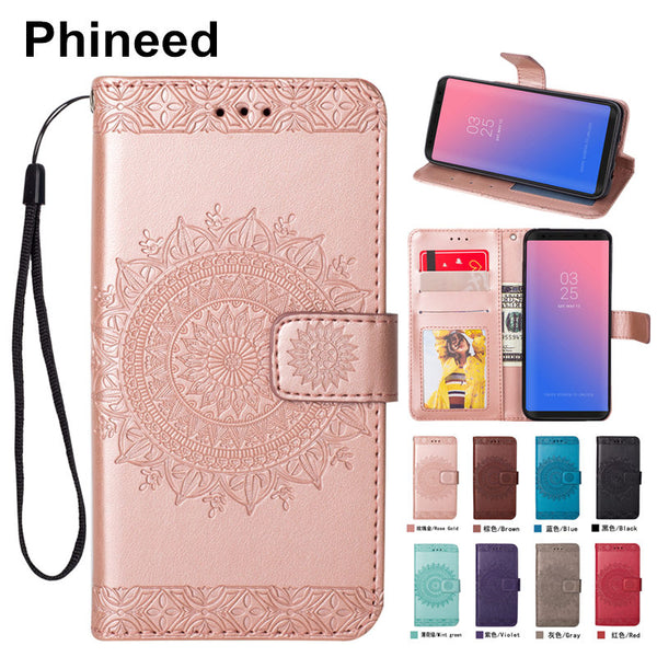 Cover Case for Samsung Galaxy S6 S7 Edge S8 S9 Plus S5 S4 S3 PU Leather Kickstand Flip Case Coque Hoesje With Floral Card Pocket