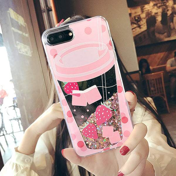 Liquid Quicksand case for iphone X  Cute Drink Bottle cover for iphone 6 6s plus Ice Cream bling coquea for iphone 7 8 plus capa