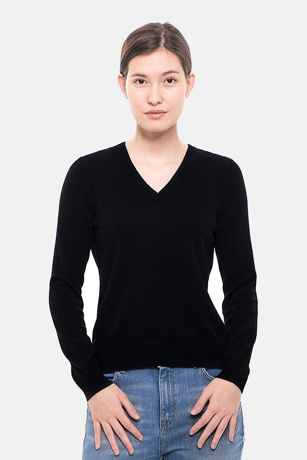100% Pure Cashmere Sweater - Long Sleeve V-Neck Pullover - GOYO CASHMERE LLC