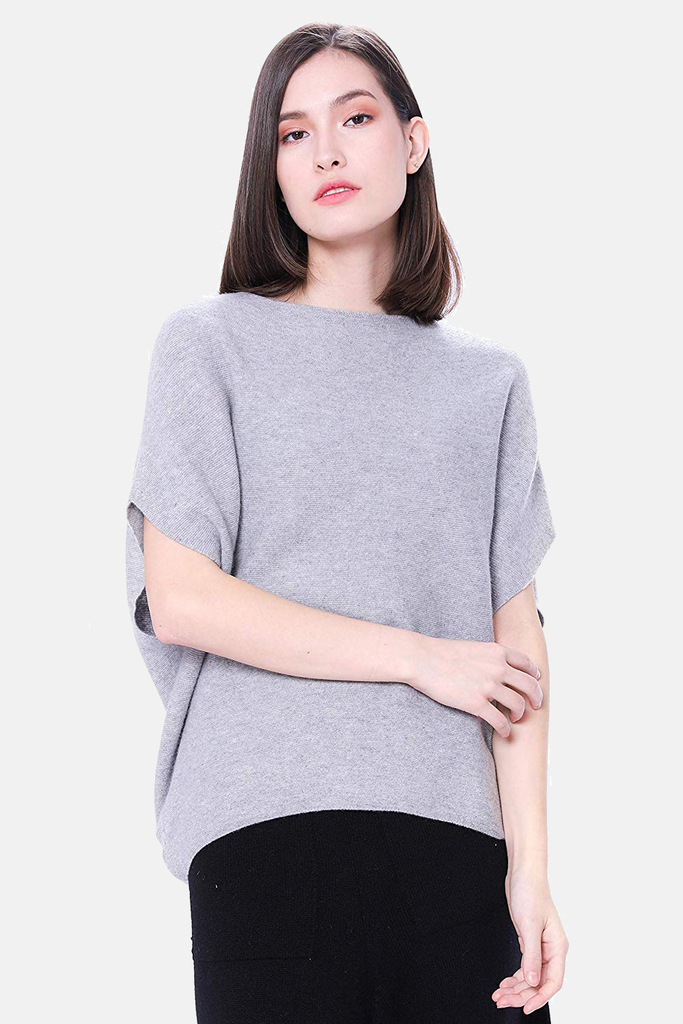 100% Pure Cashmere Boat Neck Sweater - Short Sleeve Dropped Shoulder Pullover - GOYO CASHMERE LLC