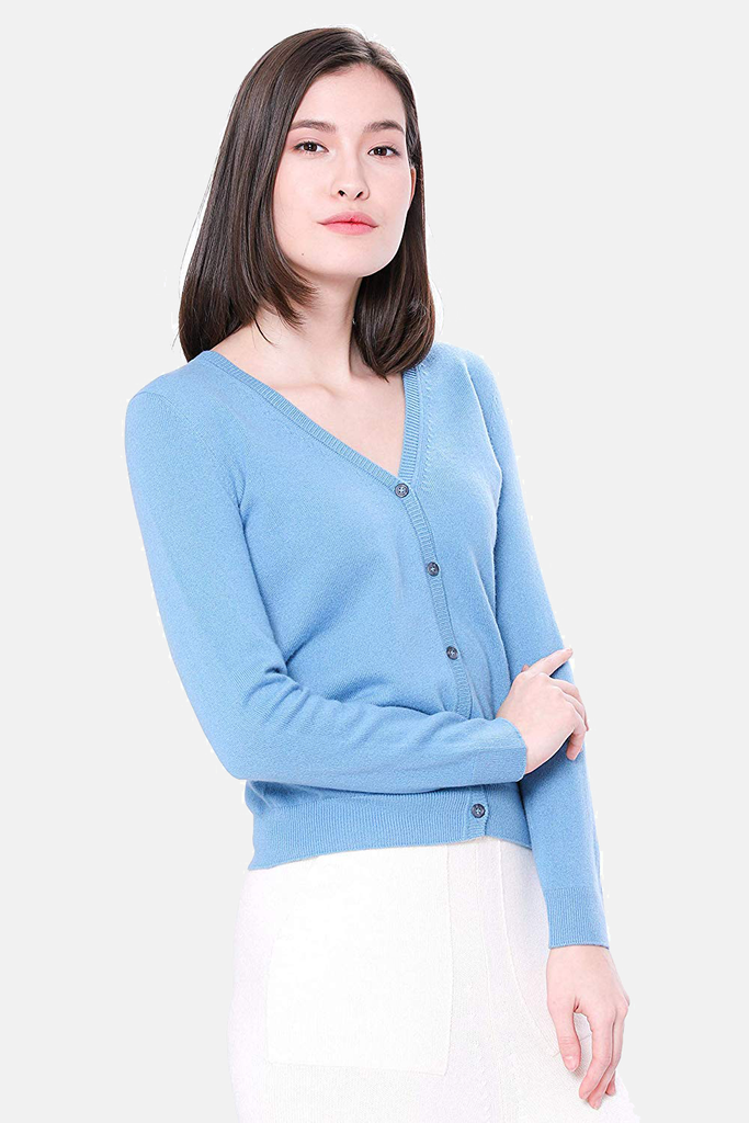 100% Pure Cashmere Cardigan - Button Down V-Neck Cardigan - GOYO CASHMERE LLC