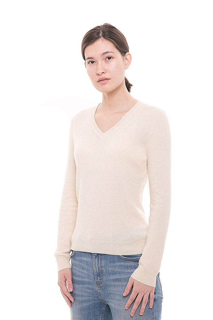 254a980f87ed32 100% Pure Cashmere Sweater - Long Sleeve V-Neck Pullover - GOYO CASHMERE LLC