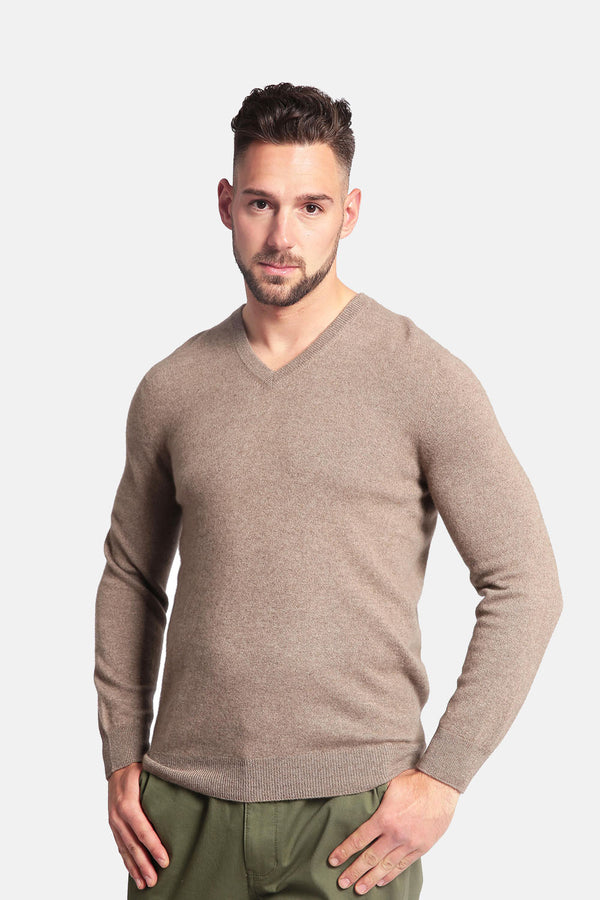 Men's 100% Pure Cashmere Sweater - V-Neck Long Sleeve Pullover - GOYO CASHMERE LLC