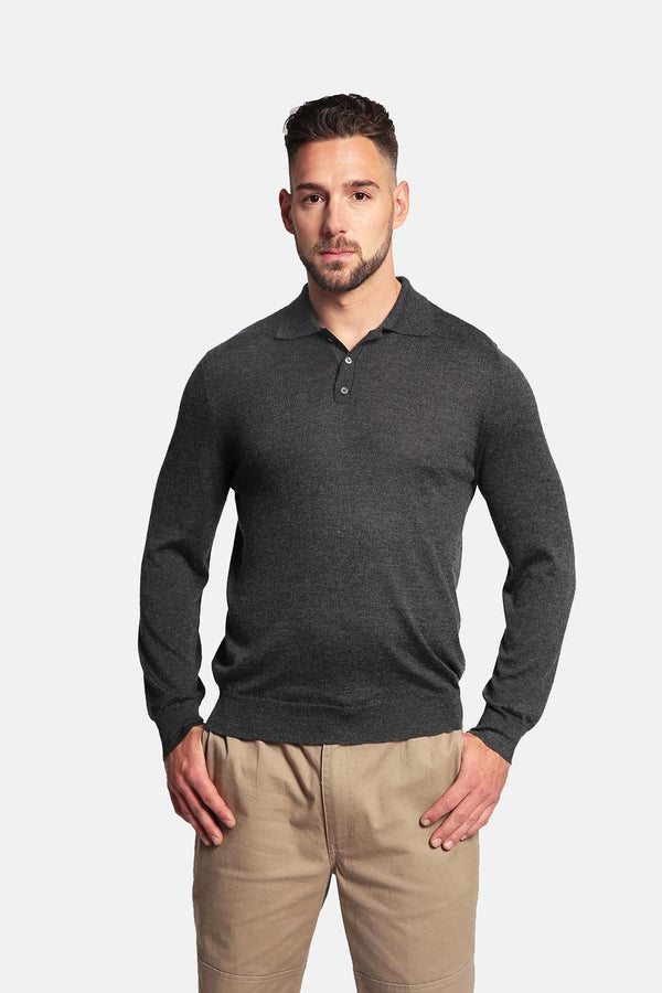 Goyo Cashmere Men's 55% Silk & 45% Cashmere Shirt - Long Sleeve Polo Shirt - GOYO CASHMERE LLC