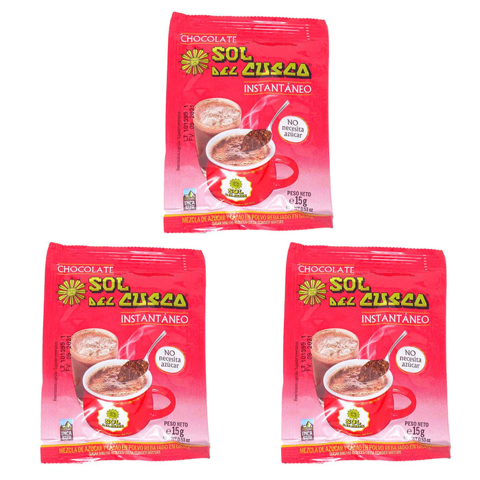 Chocolate para taza instantáneo Sol del Cusco - Pack 3 x 15g