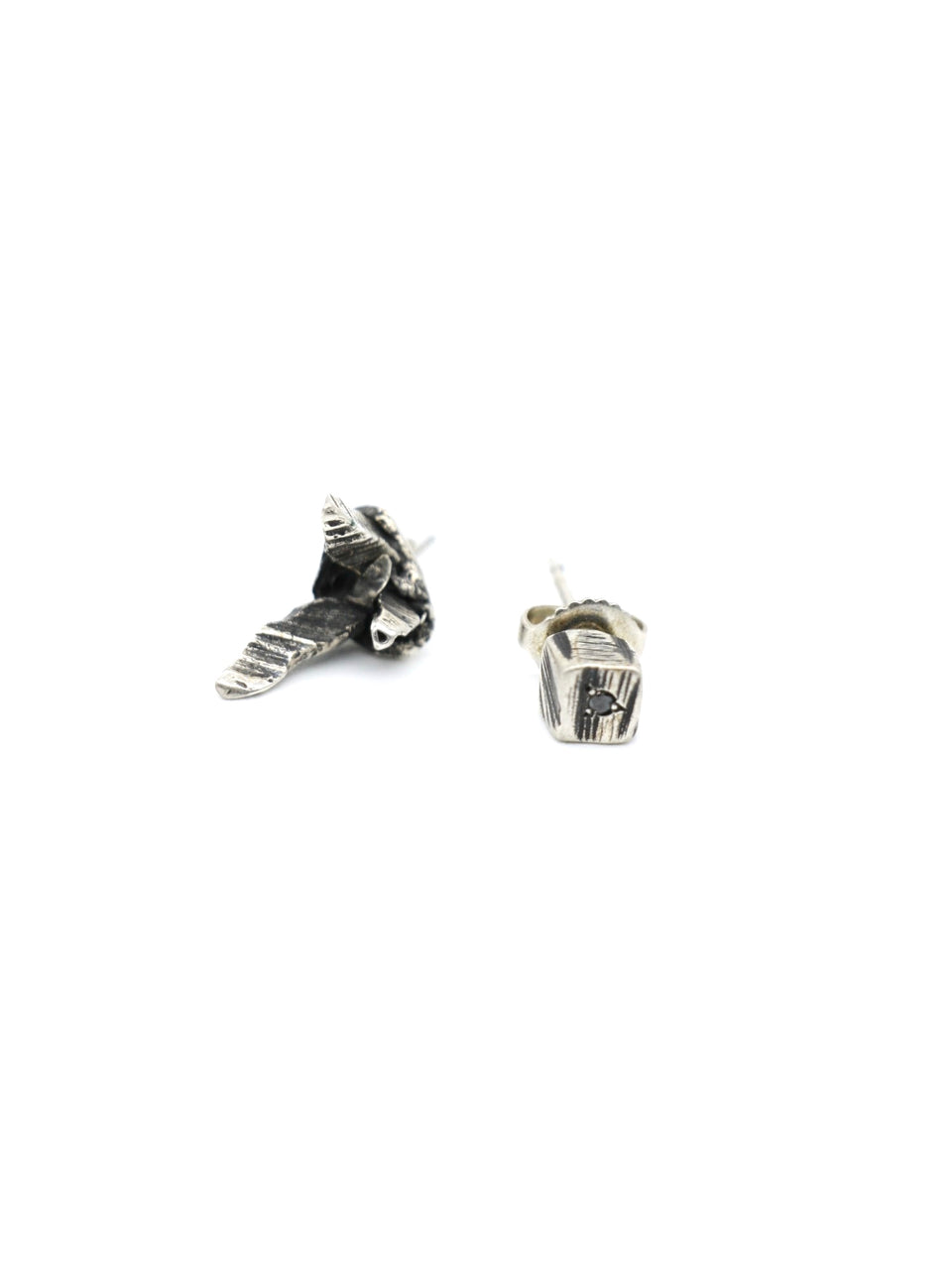 Gaspard Hex Dionysain V and Cube Studs - Silver Black Diamond