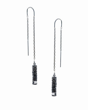 Luke Maninov Short Column Earrings - White Diamonds
