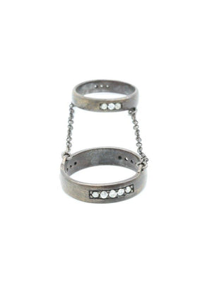Made Her Think Double Chain Ring with Rough Cut Diamonds - Oxidized Silver