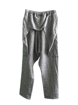 Roggykei Overlap Pants - Gray Washer Linen