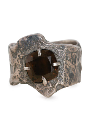 Tobias Wistisen Narrow Wood Stone Ring - Silver