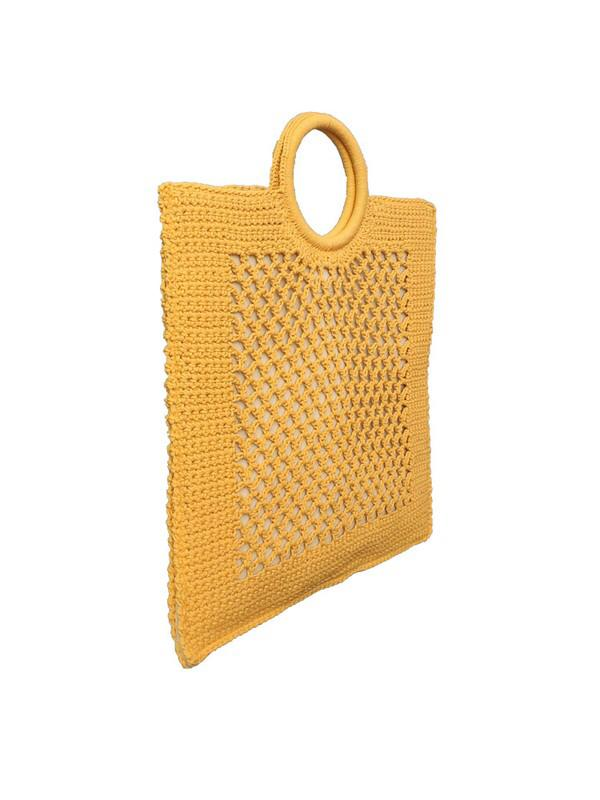 Square To My Heart crochet Hang Bag (Dusty Yellow)